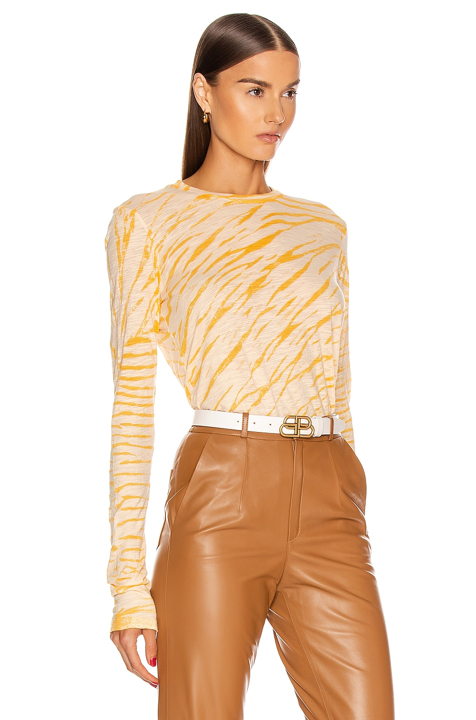 Image 2 of Proenza Schouler Long Sleeve Tie Dye Tee in Peach & Apricot Diagonal