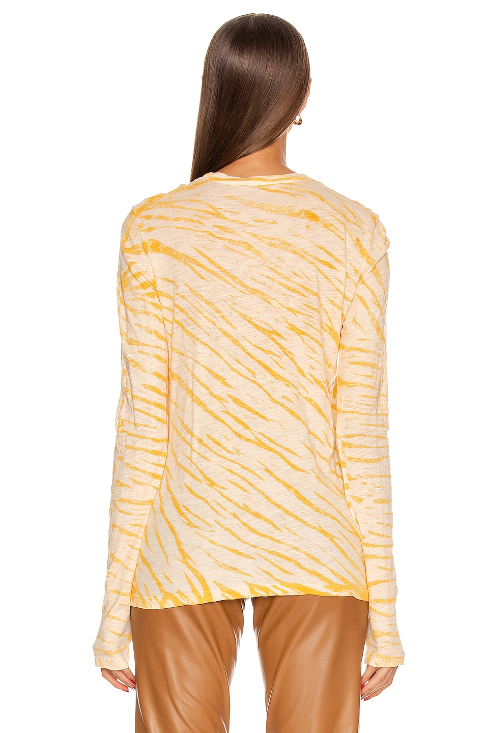 Image 3 of Proenza Schouler Long Sleeve Tie Dye Tee in Peach & Apricot Diagonal