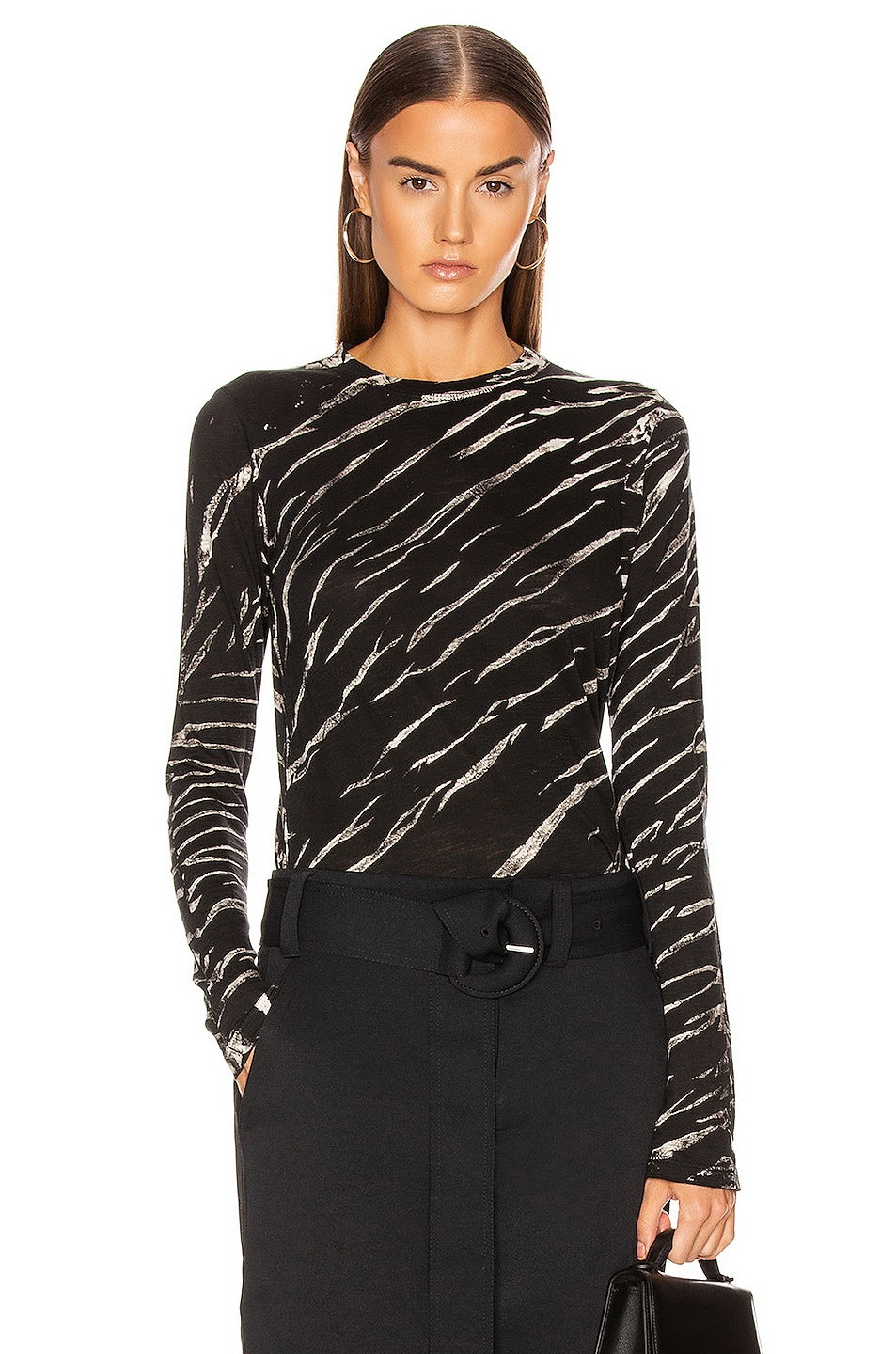 Image 1 of Proenza Schouler Long Sleeve Tie Dye Tee in Black & White Diagonal