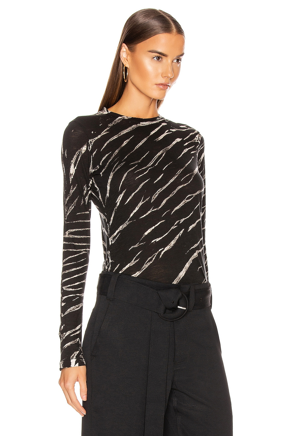 Image 2 of Proenza Schouler Long Sleeve Tie Dye Tee in Black & White Diagonal
