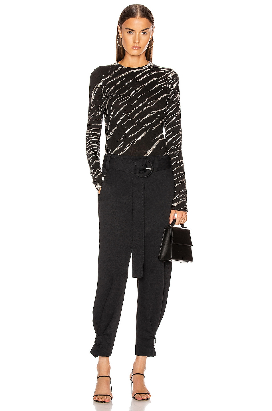 Image 4 of Proenza Schouler Long Sleeve Tie Dye Tee in Black & White Diagonal
