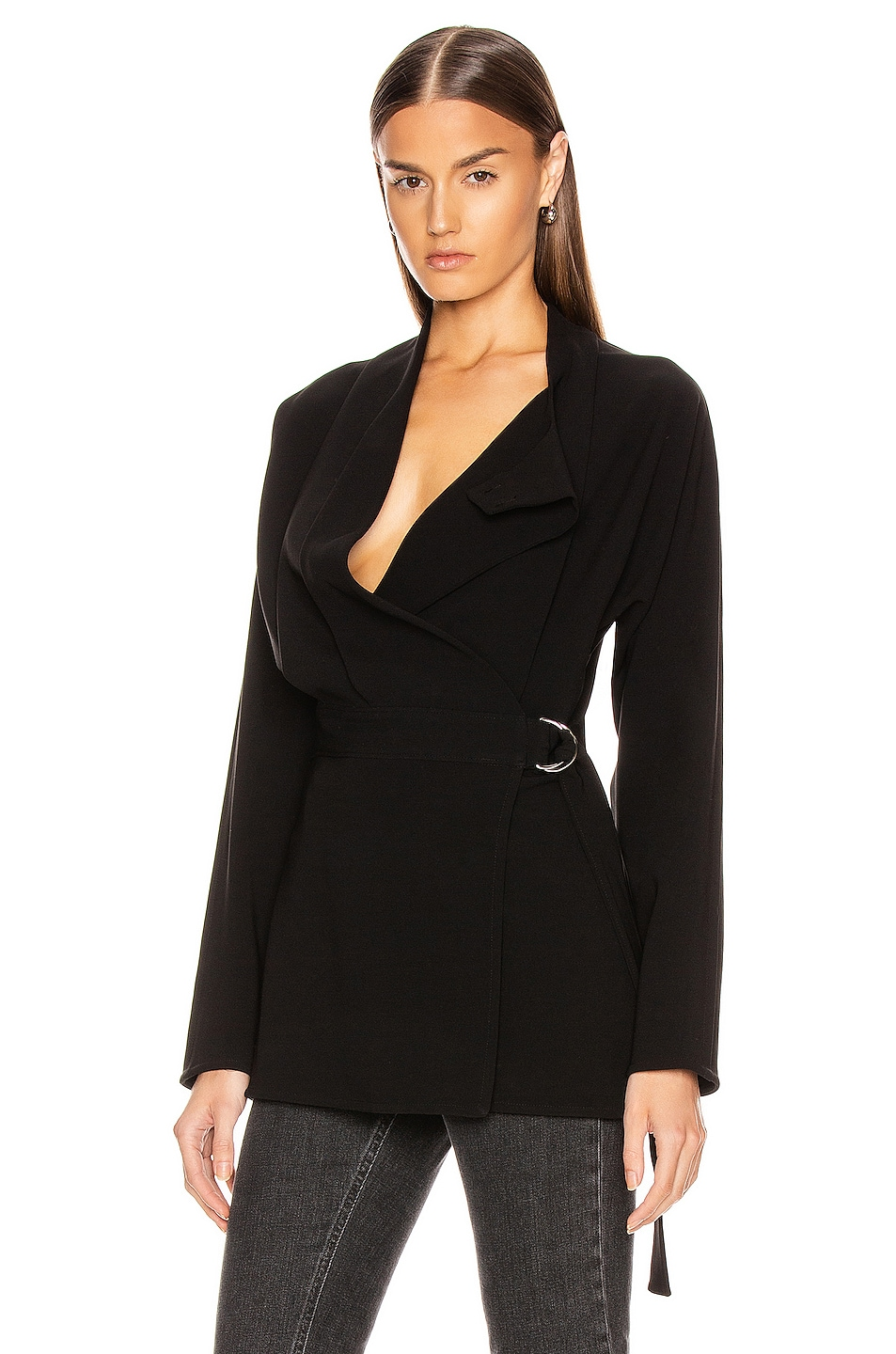 Image 1 of Proenza Schouler Long Sleeve Wrap Top in Black