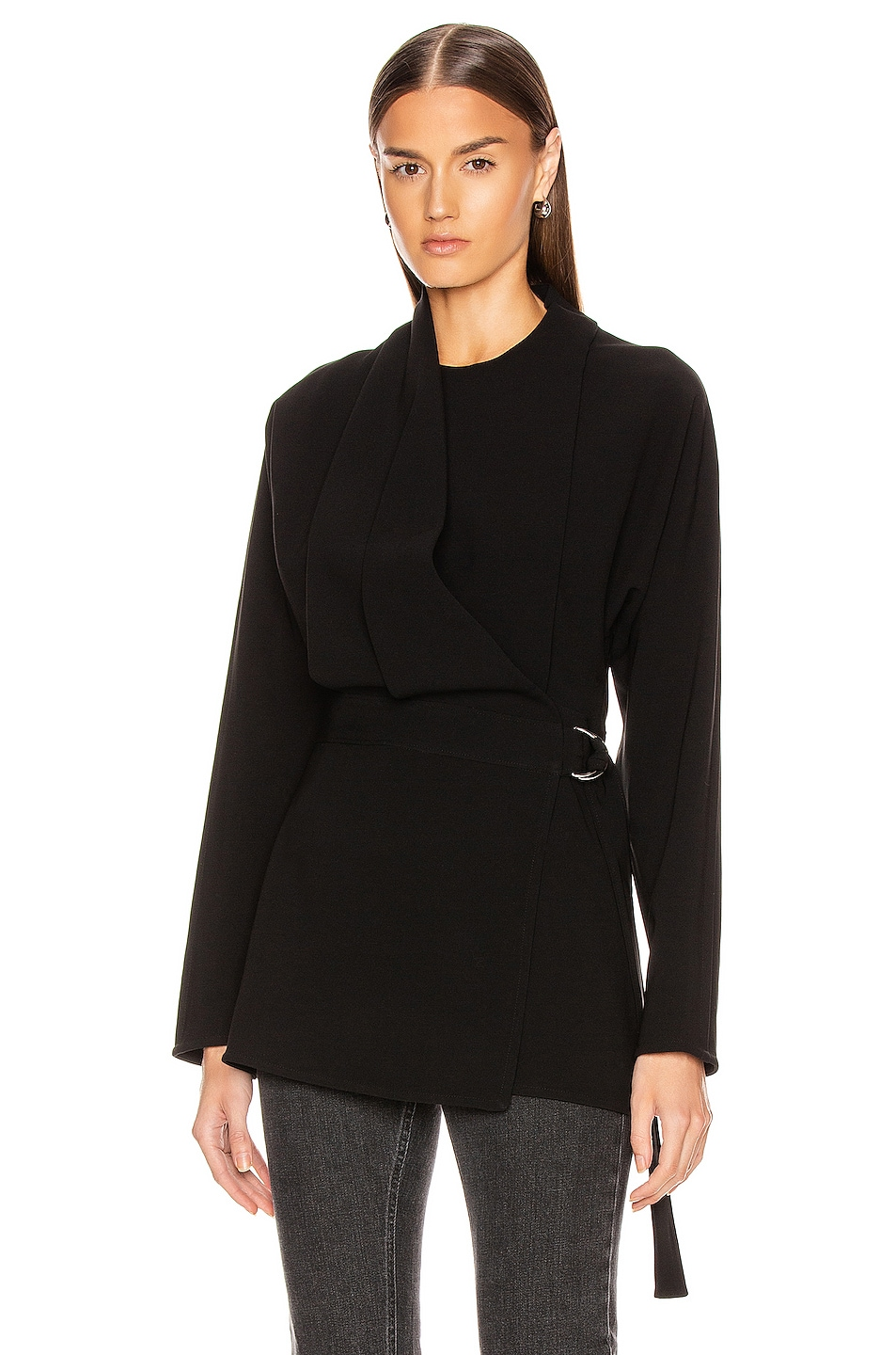 Image 2 of Proenza Schouler Long Sleeve Wrap Top in Black