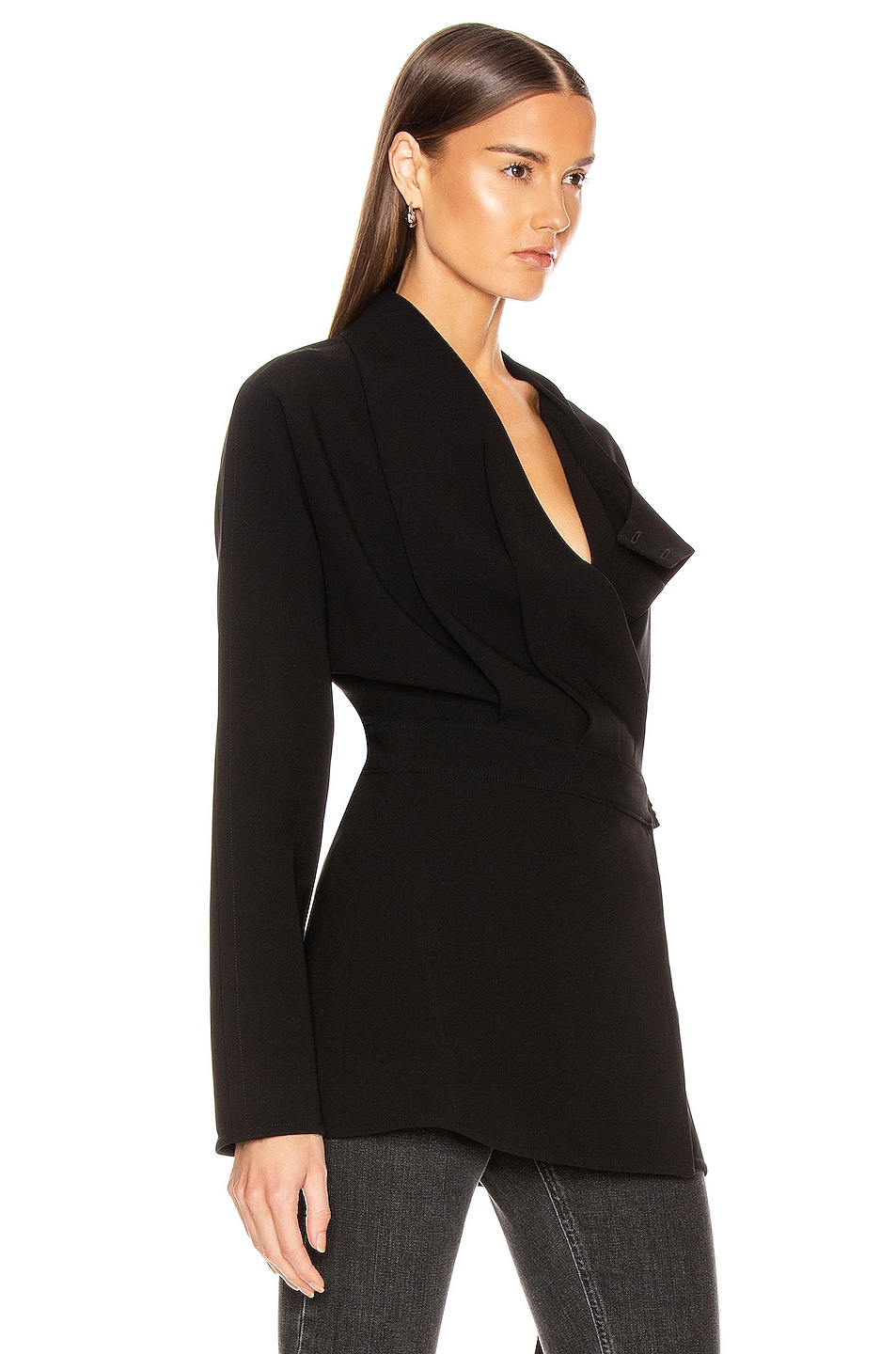 Image 3 of Proenza Schouler Long Sleeve Wrap Top in Black