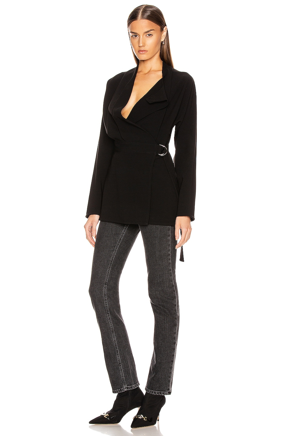 Image 5 of Proenza Schouler Long Sleeve Wrap Top in Black