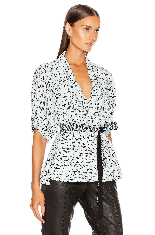 Image 2 of Proenza Schouler Short Sleeve Wrap Top in Black & Sage Inky Leopard
