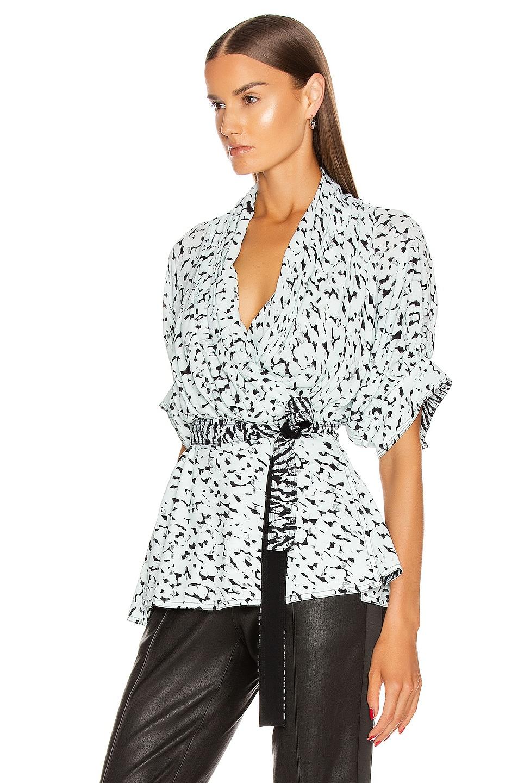 Image 3 of Proenza Schouler Short Sleeve Wrap Top in Black & Sage Inky Leopard