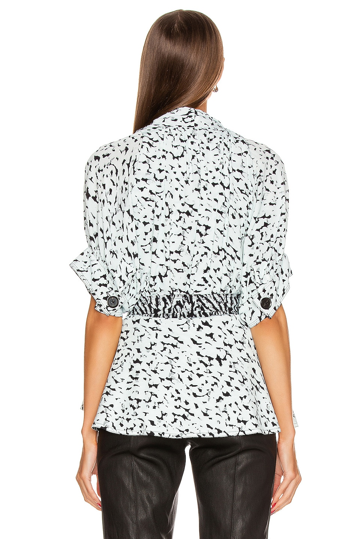 Image 4 of Proenza Schouler Short Sleeve Wrap Top in Black & Sage Inky Leopard