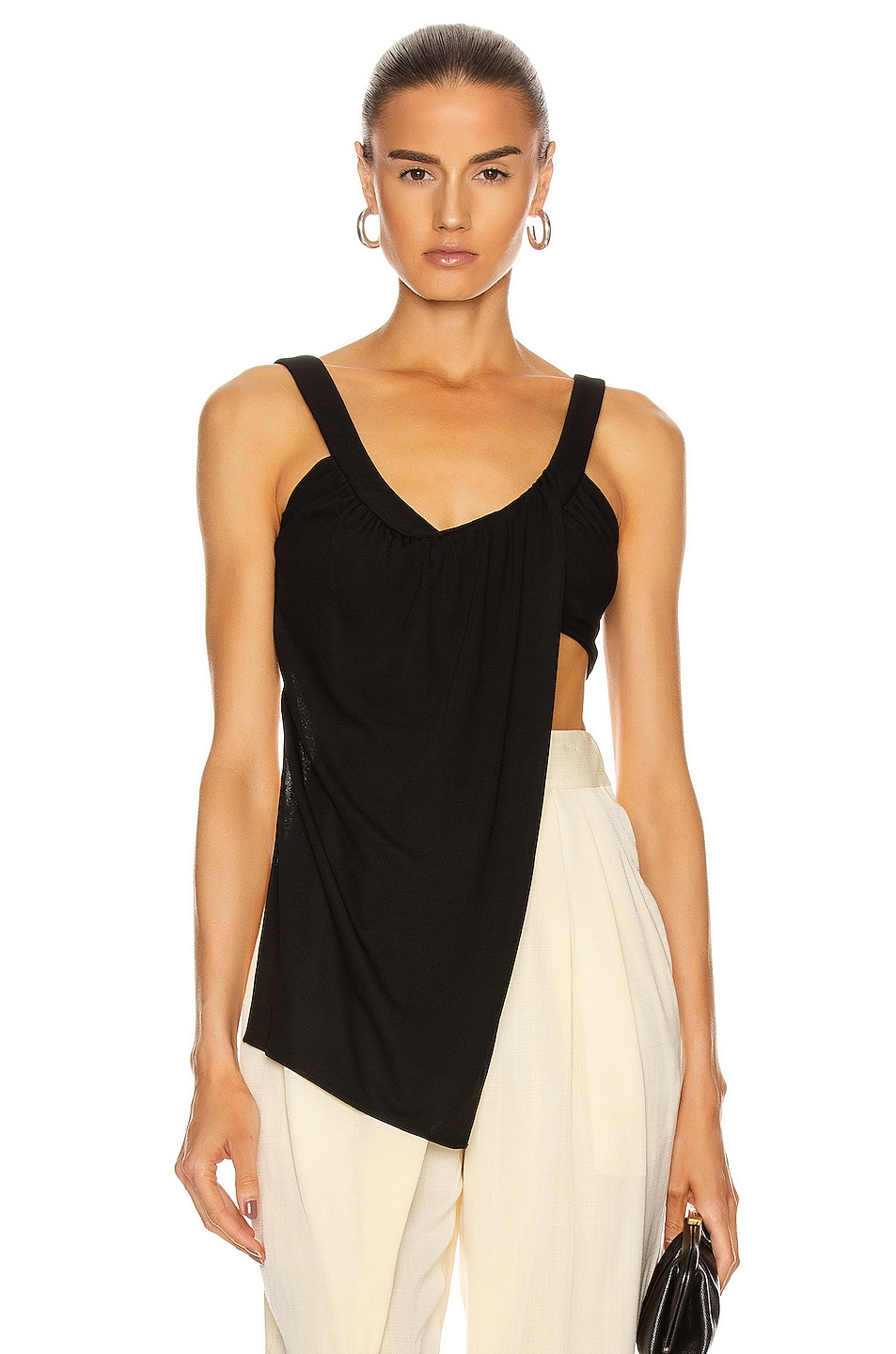 Image 1 of Proenza Schouler Sleeveless Draped Tank Top in Black