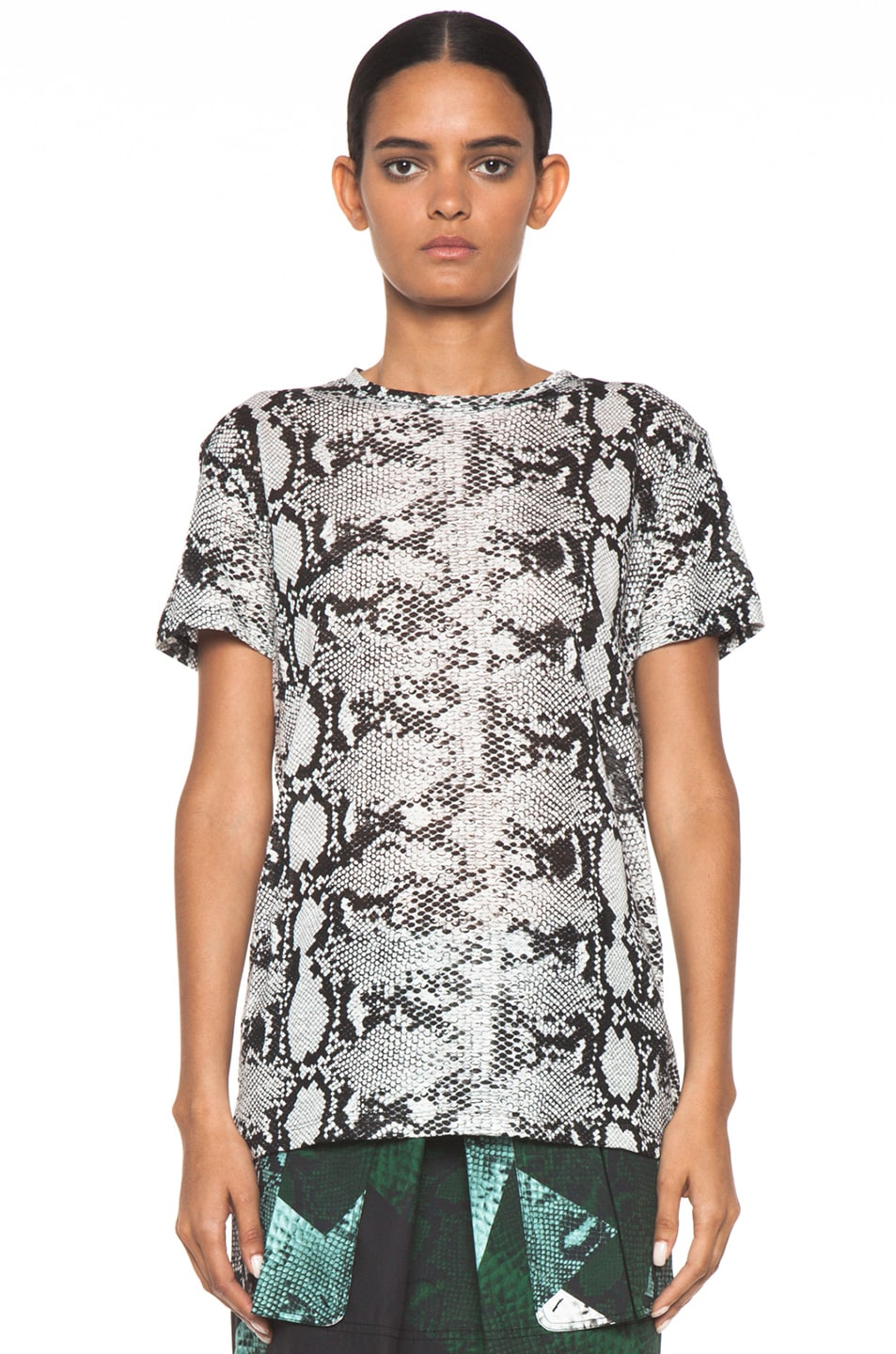 Image 1 of Proenza Schouler Short Sleeve Baggy Python Tee in Black & White