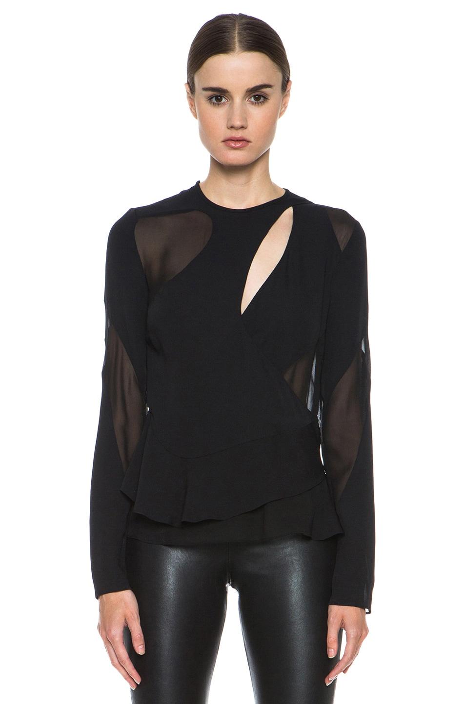 Image 1 of Proenza Schouler Pieced Asymmetric Silk Blouse in Black