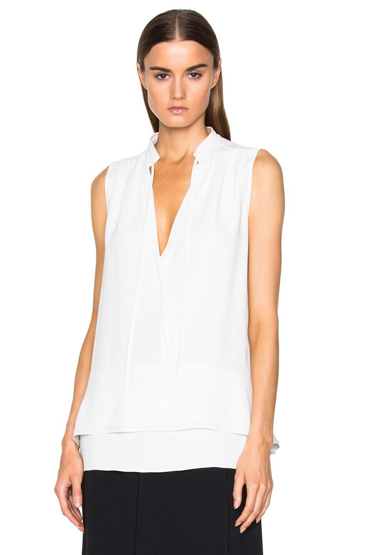 Image 1 of Proenza Schouler Satin Back Crepe Tie Top in Off White