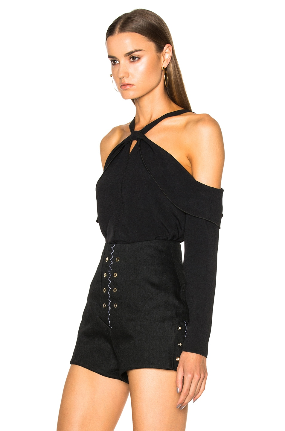 Image 2 of Proenza Schouler Satin Back Off Shoulder Top in Black