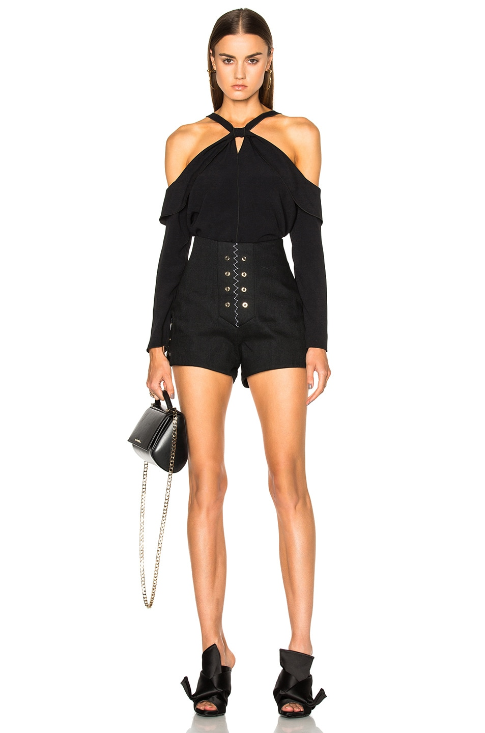 Image 5 of Proenza Schouler Satin Back Off Shoulder Top in Black