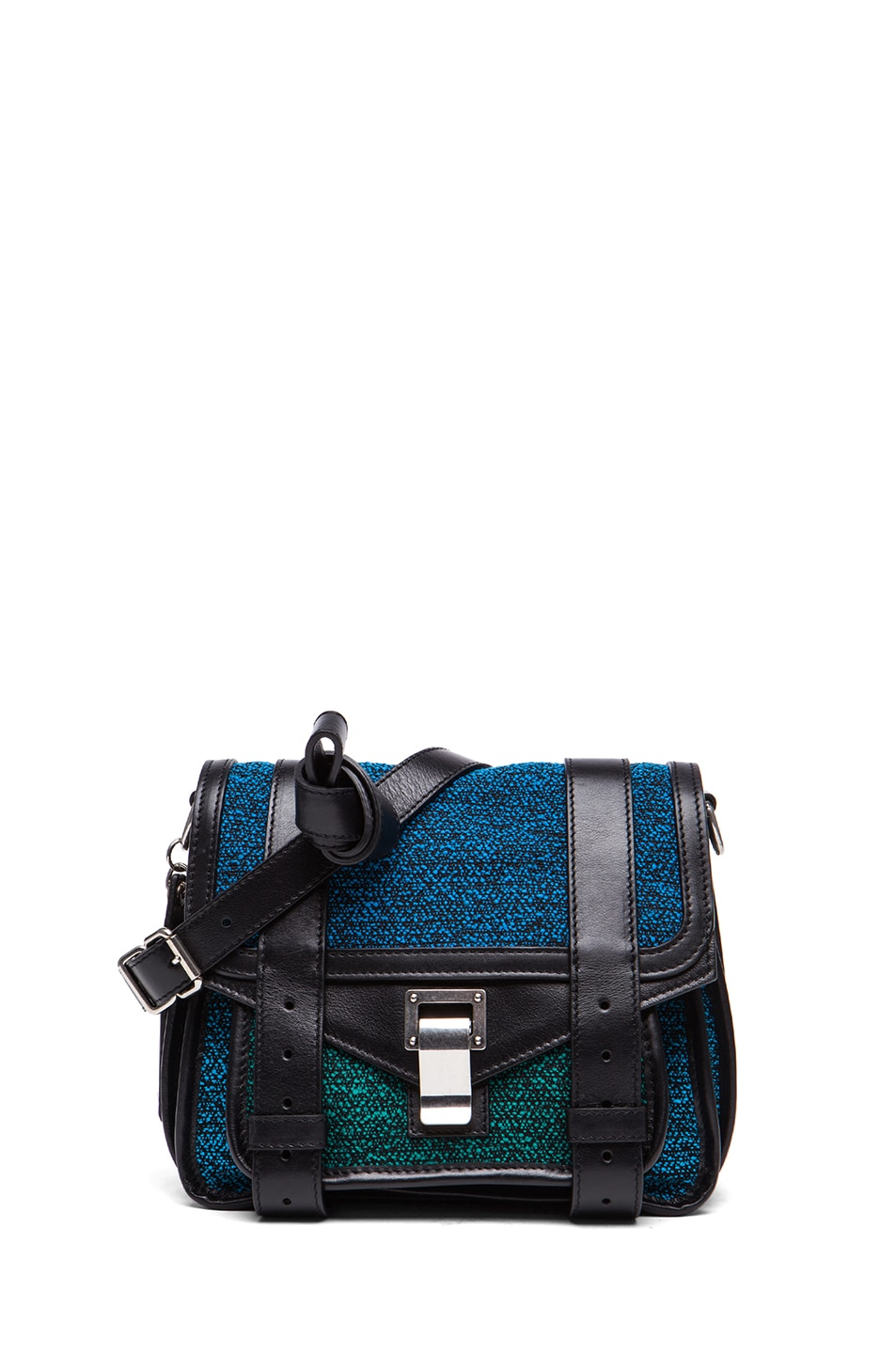 Image 1 of Proenza Schouler PS1 Tweed and Leather Pouch in Emerald & Cerulean & Ocean
