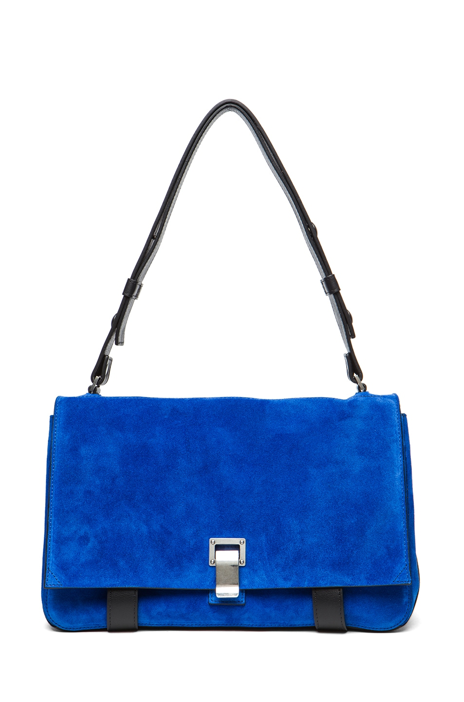 Image 1 of Proenza Schouler PS Suede Courier in Royal Blue & Black