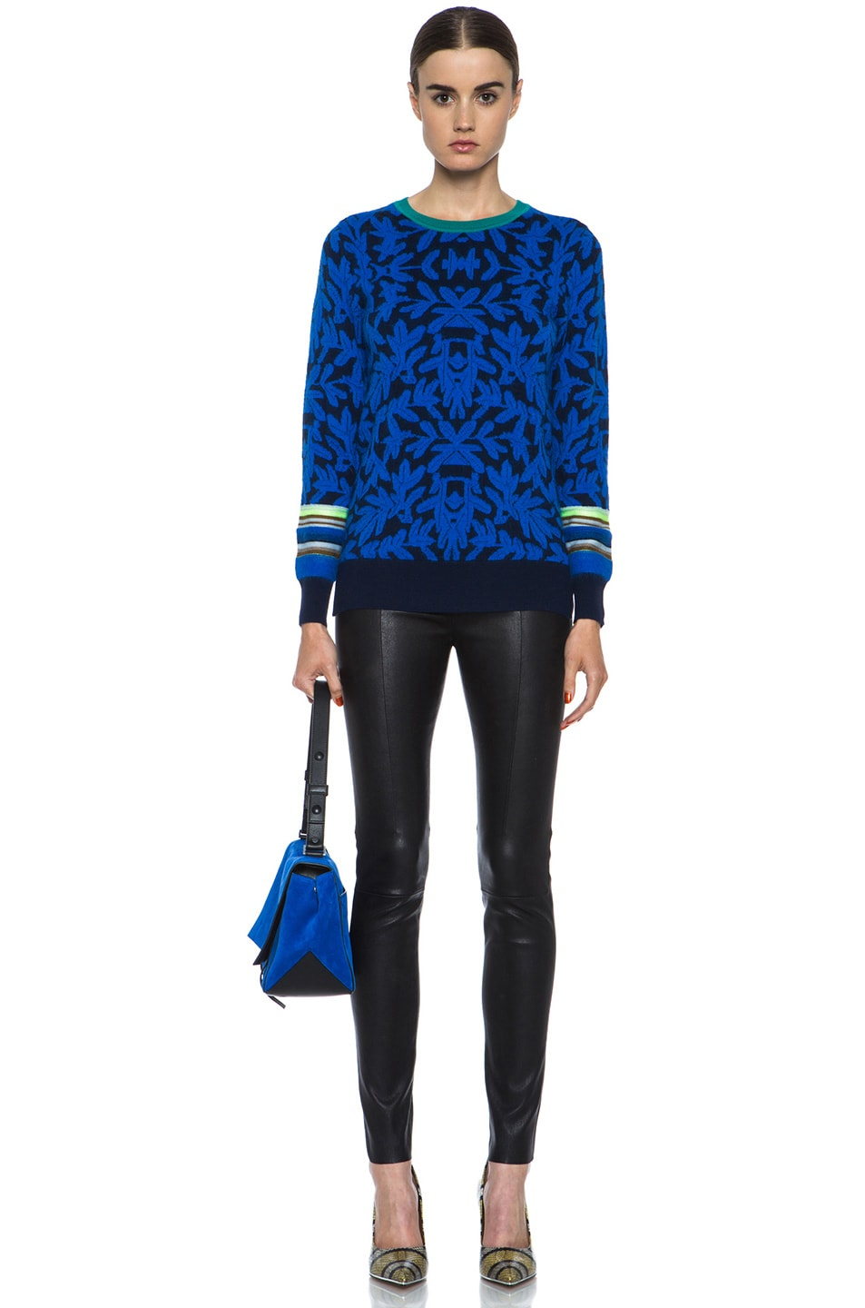 Image 5 of Proenza Schouler PS Suede Courier in Royal Blue & Black