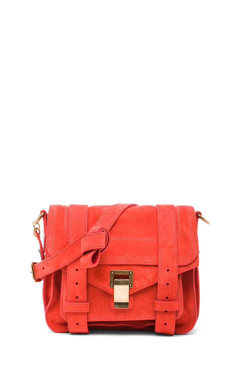 Image 1 of Proenza Schouler PS1 Suede Pouch in Poppy