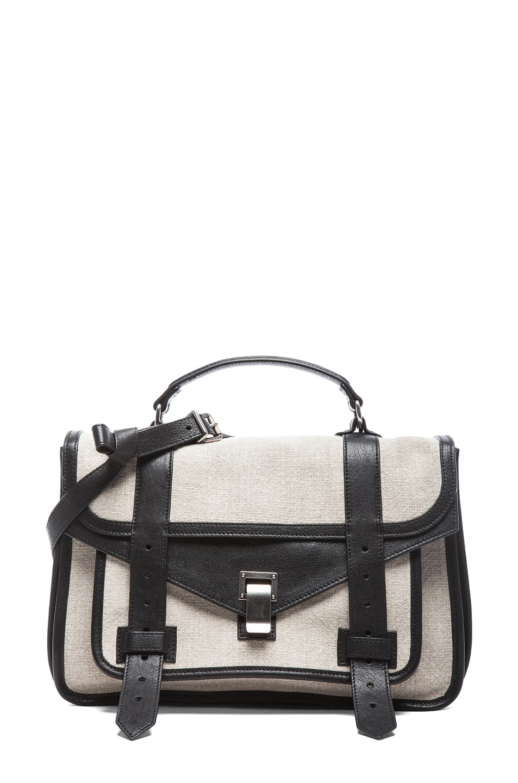 Image 1 of Proenza Schouler Medium PS1 Linen in Natural & Black