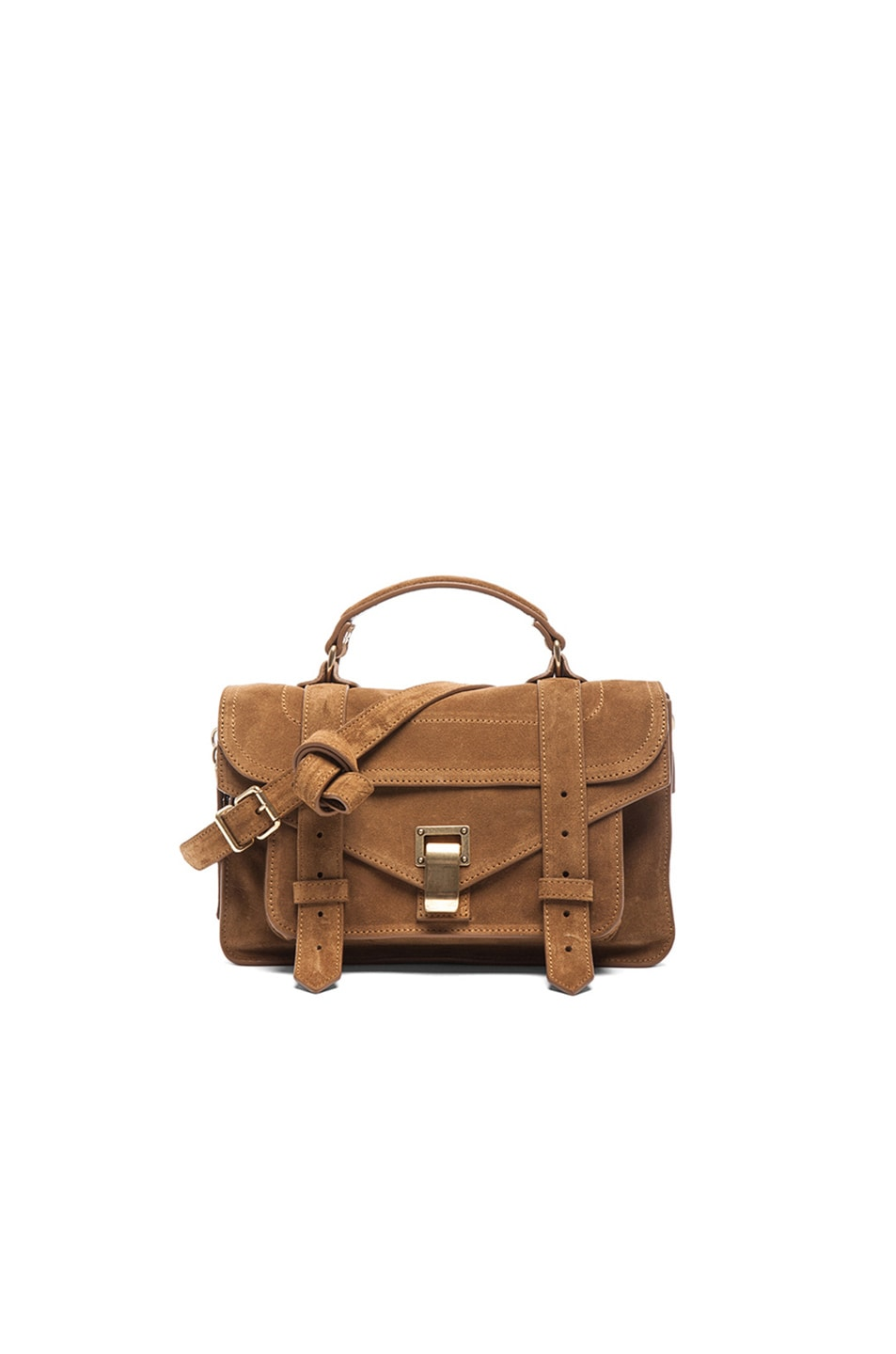 Image 1 of Proenza Schouler Tiny PS1 Suede in Tobacco