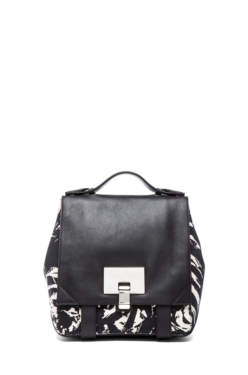 Image 1 of Proenza Schouler Small PS Leaf Print Backpack in Black & White