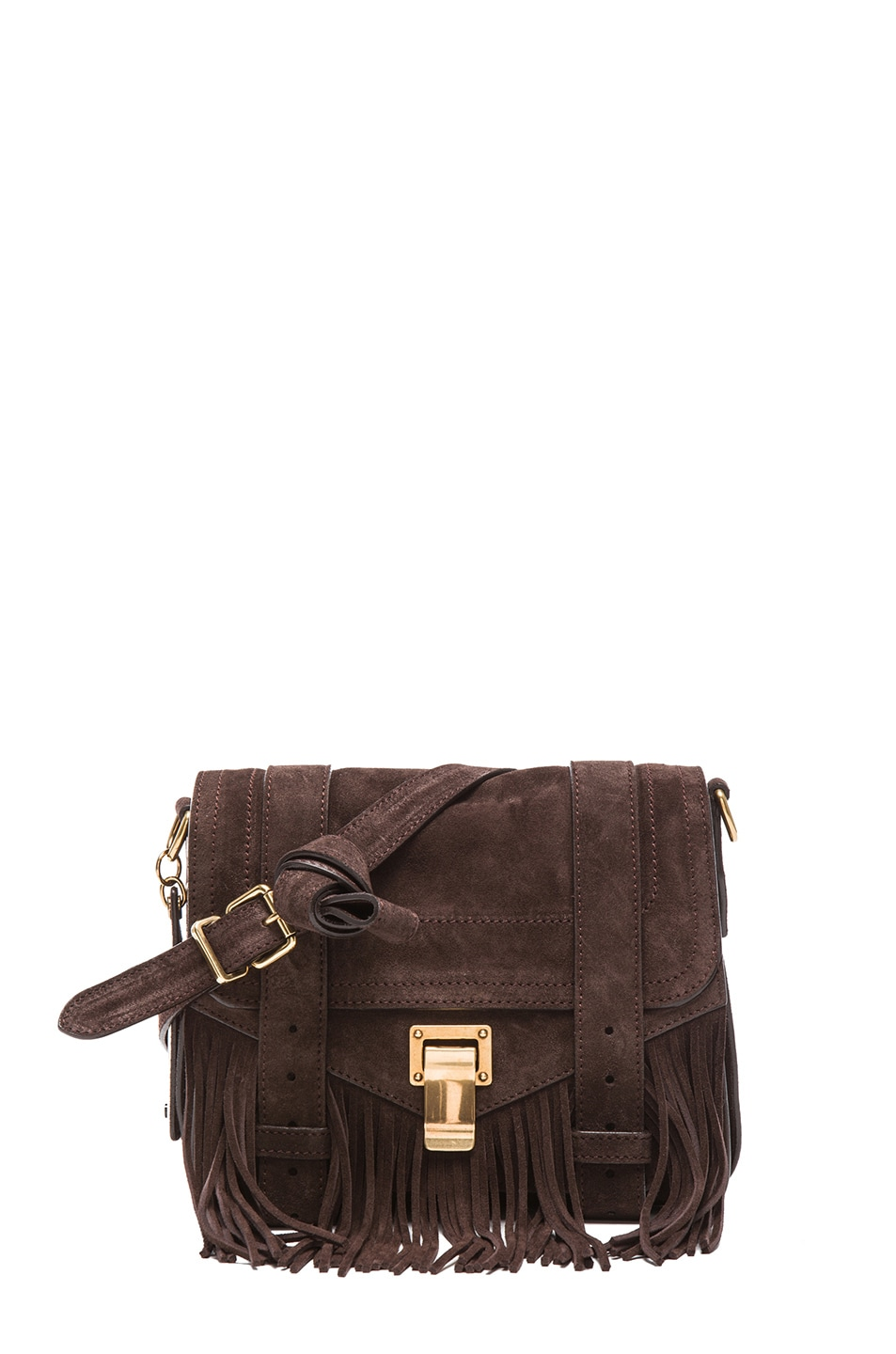 Image 1 of Proenza Schouler PS1 Suede Fringe Pouch in Mogano