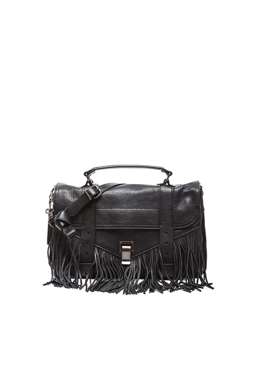 Image 1 of Proenza Schouler Medium PS1 Leather Fringe in Black