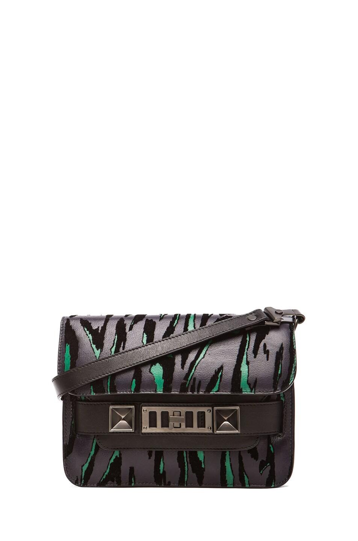 Image 1 of Proenza Schouler Mini PS11 Classic Moire Print Stingray in Jade & Black