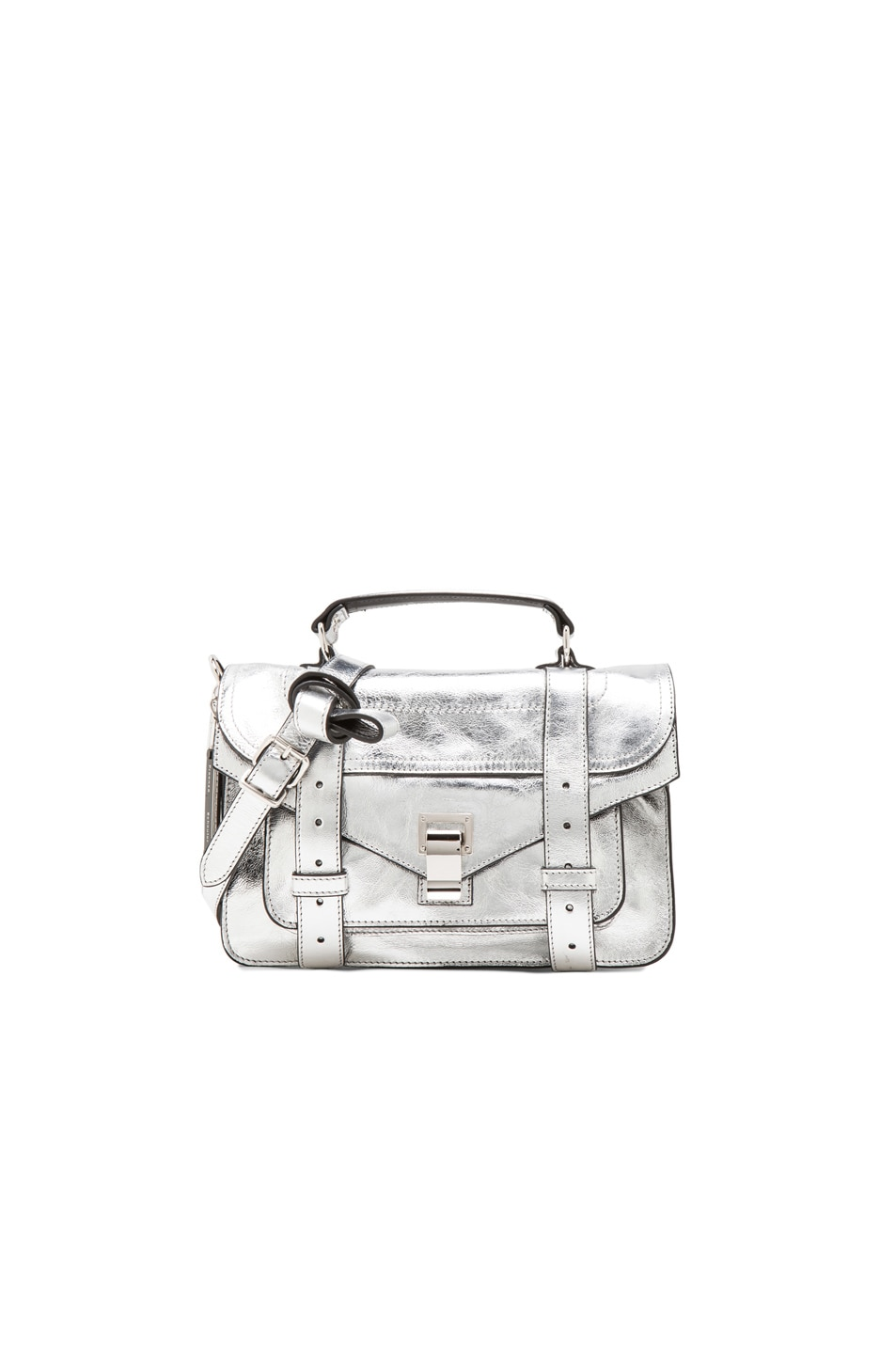 Image 1 of Proenza Schouler Tiny PS1 Metallic Leather in Silver