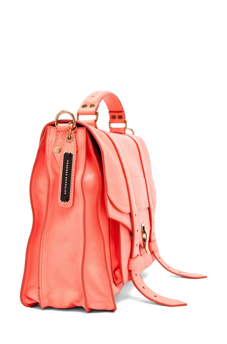 Image 3 of Proenza Schouler PS1 Large Leather in Neon Coral