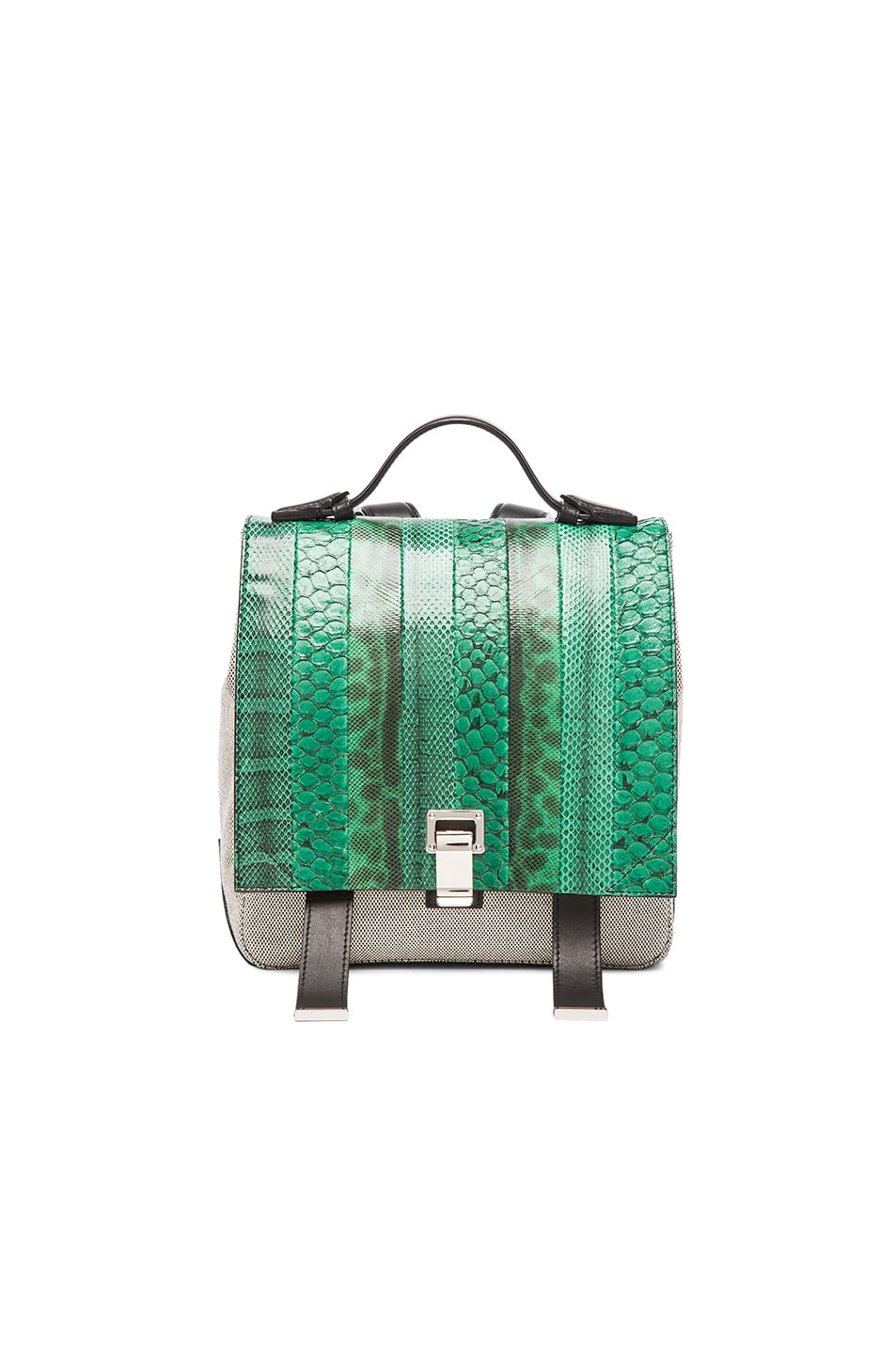 Image 1 of Proenza Schouler Small Exotic Stripe Courier Backpack in Aloe