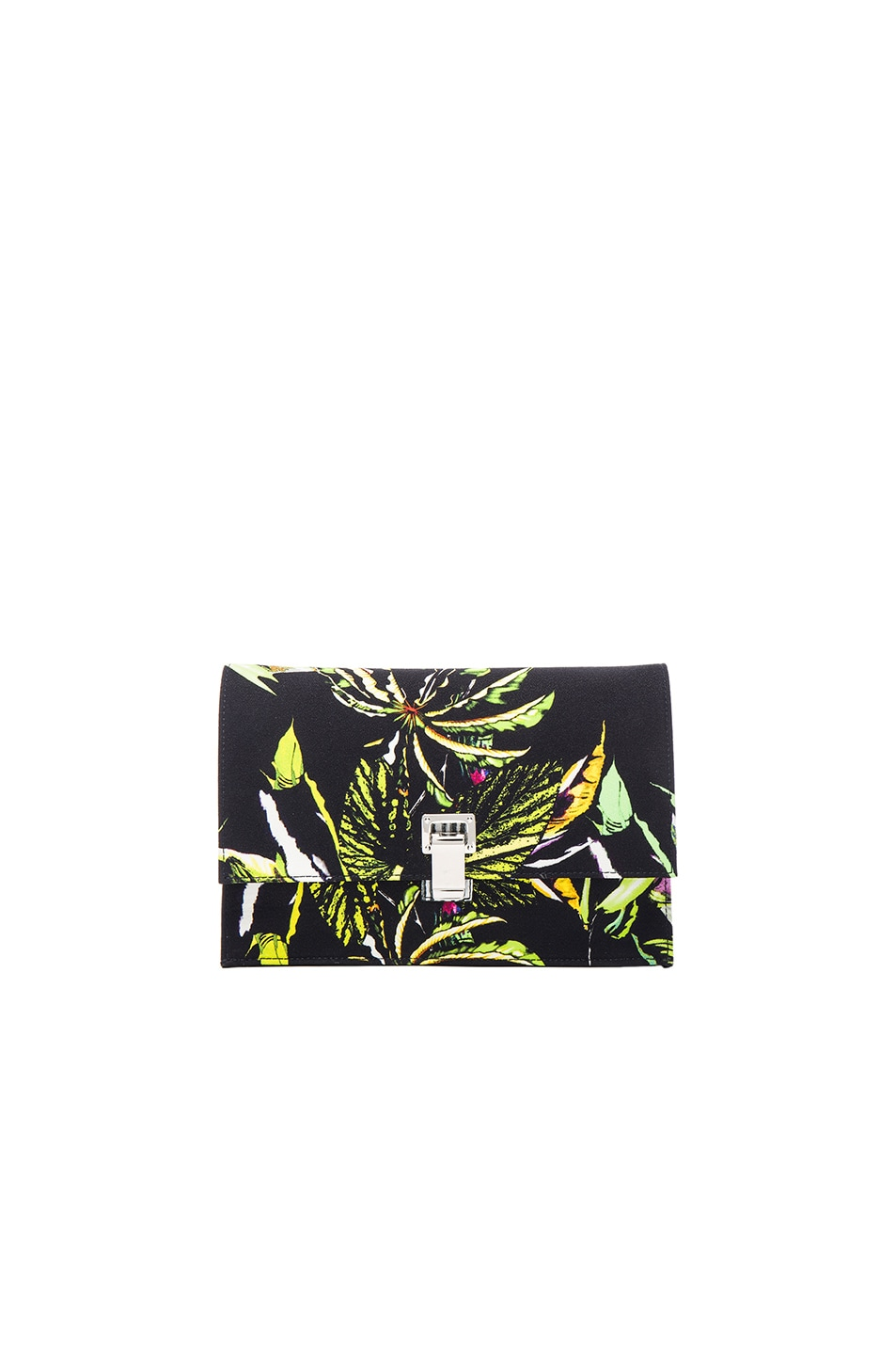 Image 1 of Proenza Schouler Small Floral Print Satin Lunch Bag in Navy