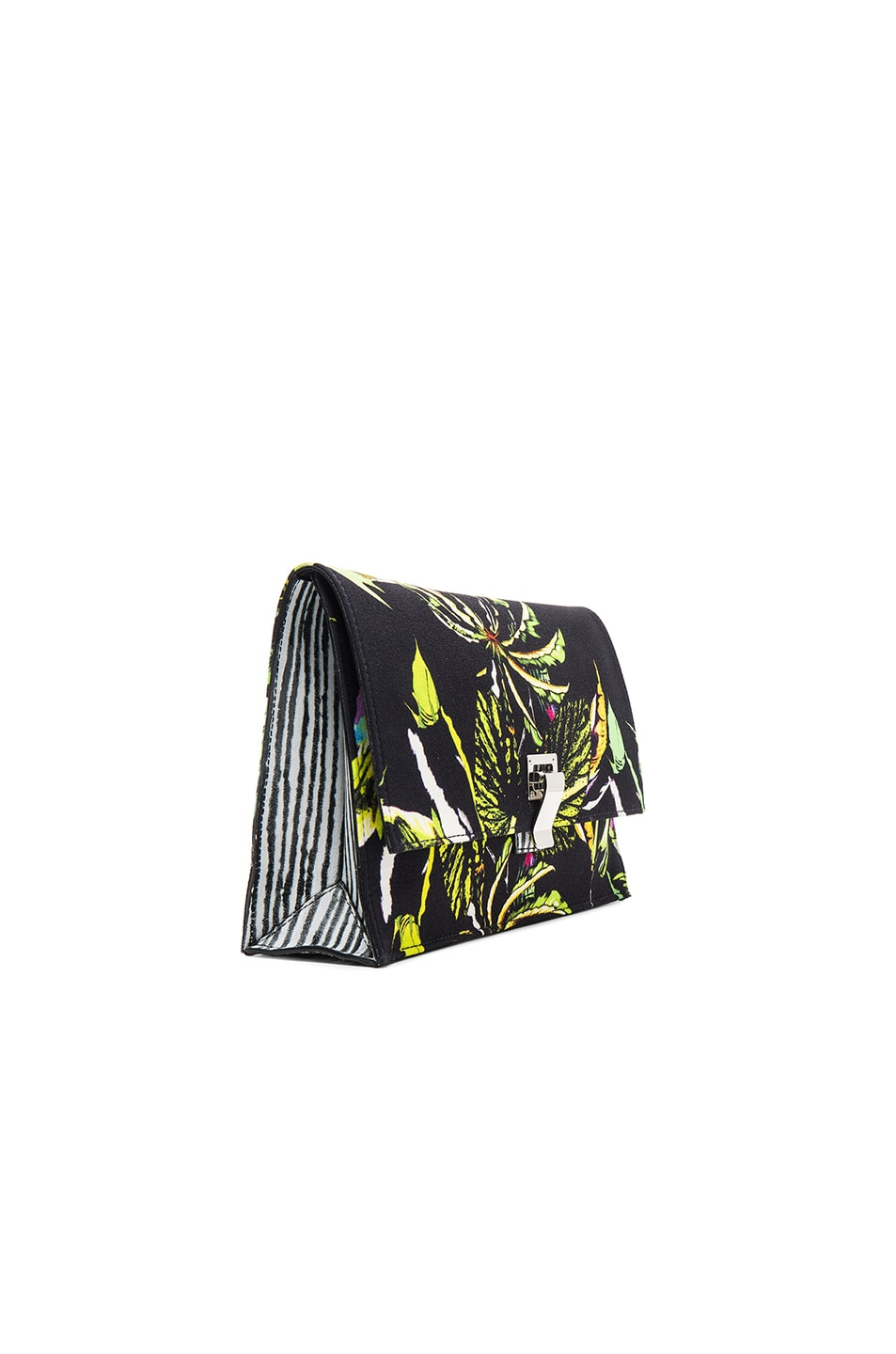 Image 4 of Proenza Schouler Small Floral Print Satin Lunch Bag in Navy