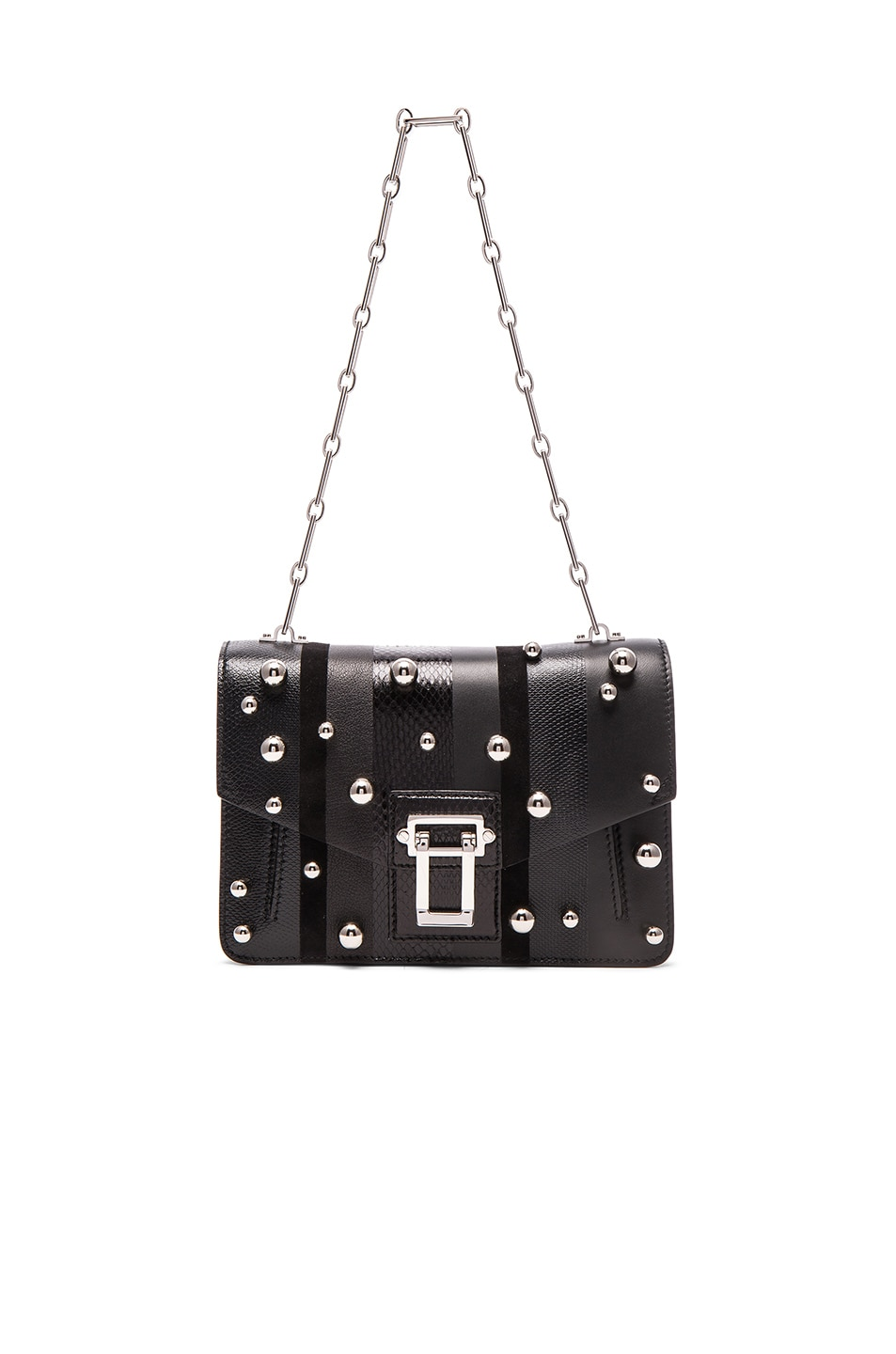 Image 1 of Proenza Schouler Hava Exotic Stripe Mix Chain Bag in Black