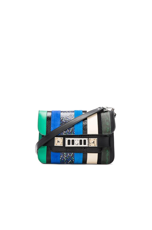 Image 1 of Proenza Schouler Mini Exotic Stripe Mix PS11 in Aloe & Sea Blue