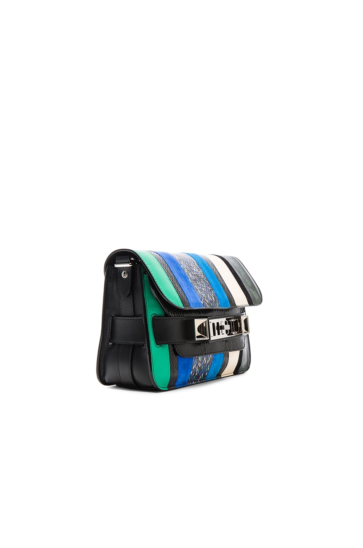 Image 4 of Proenza Schouler Mini Exotic Stripe Mix PS11 in Aloe & Sea Blue