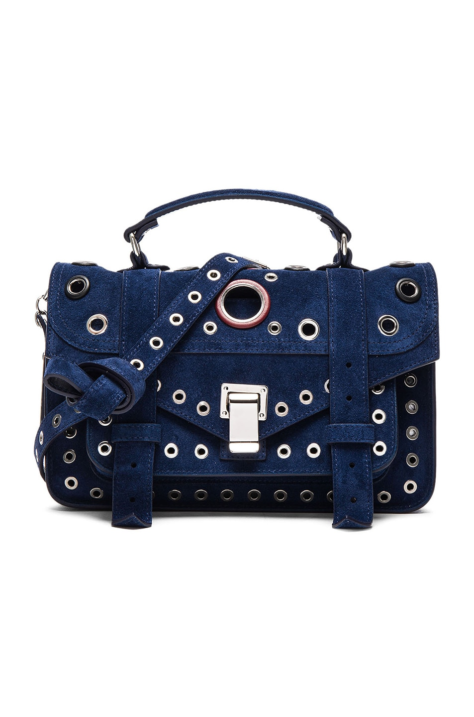 Image 1 of Proenza Schouler Tiny PS1 Suede & Leather Grommets in Indigo