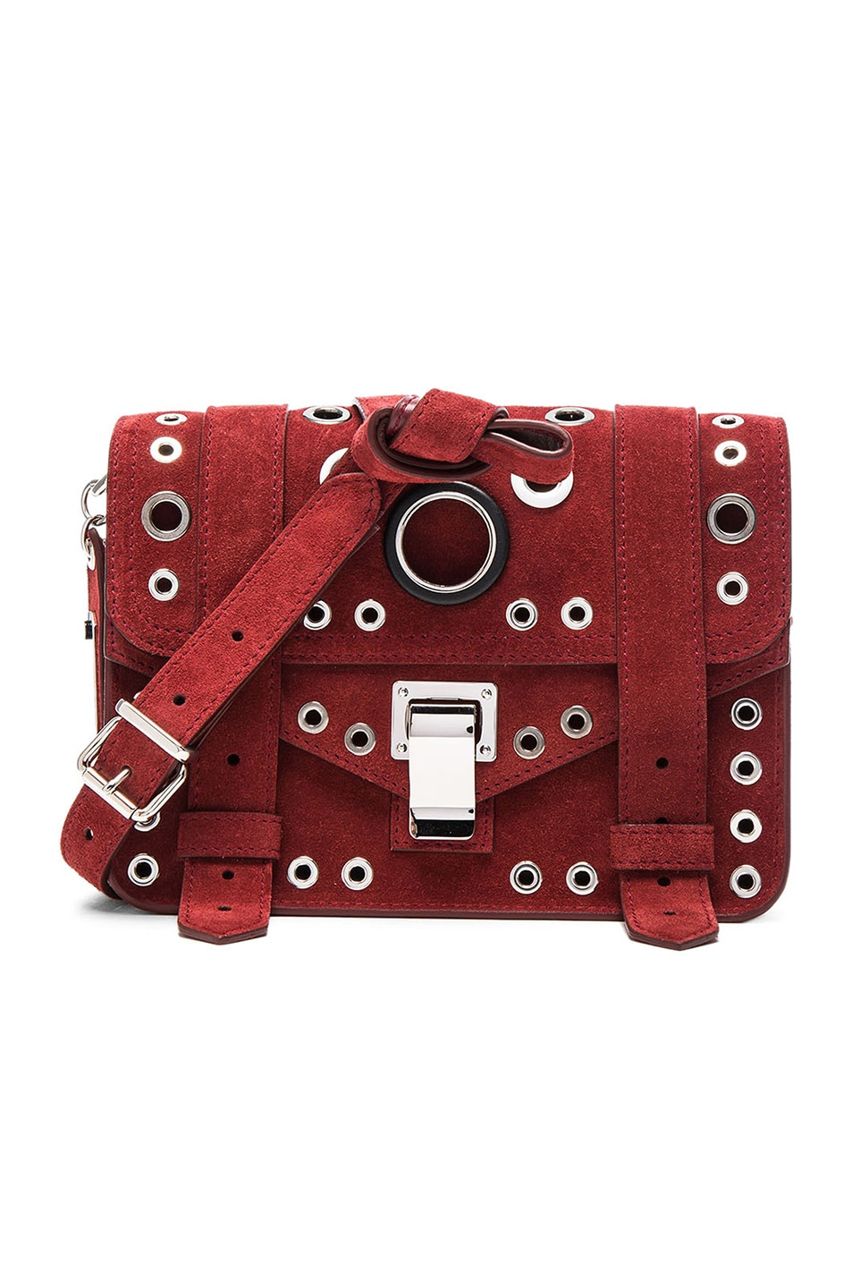 Image 1 of Proenza Schouler Mini PS1 Suede & Leather Grommets in Midnight Plum