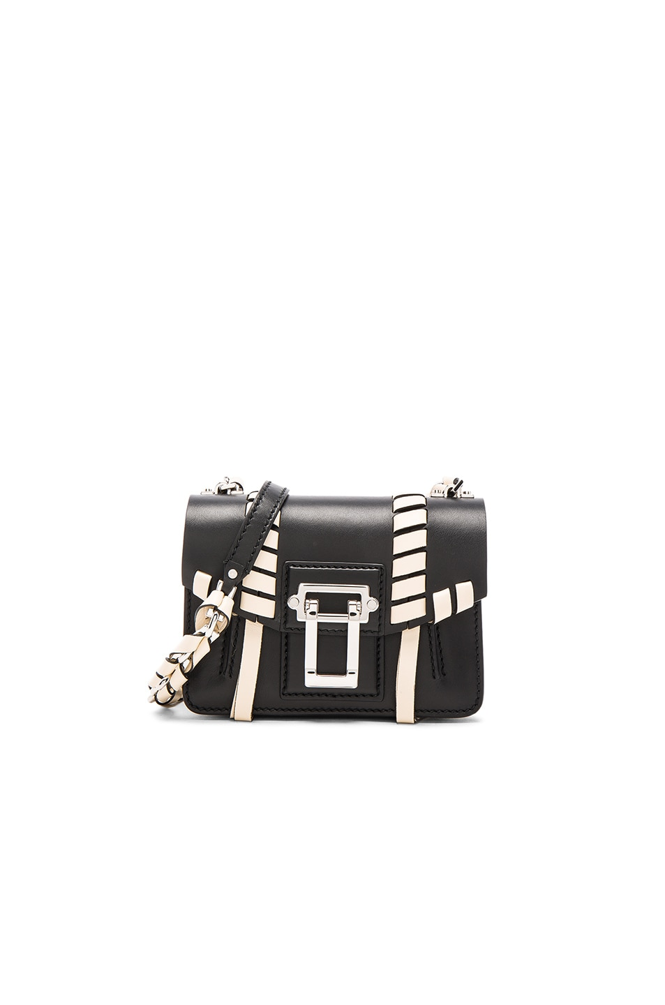 Image 1 of Proenza Schouler Hava Leather Whipstitch in Black & Ecru