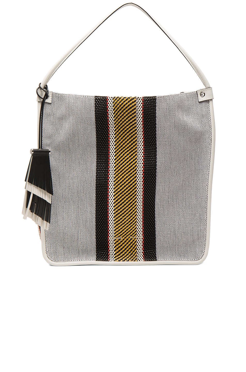 Image 1 of Proenza Schouler Medium Tote Woven Stripes in Optic White Mix