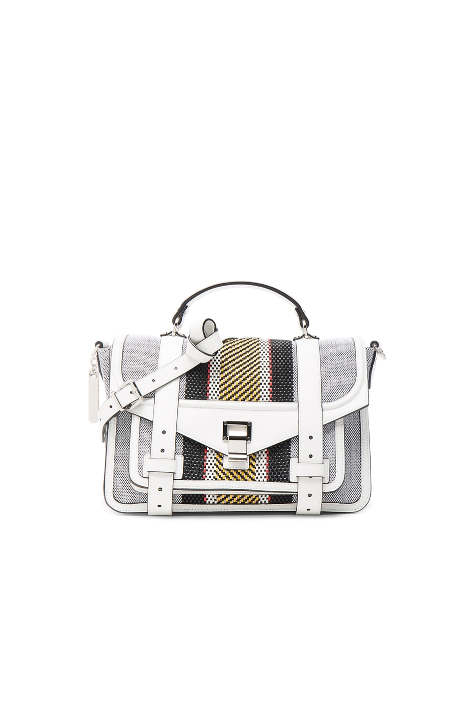 Image 1 of Proenza Schouler Medium PS1+ Woven Stripes in Optic White Mix