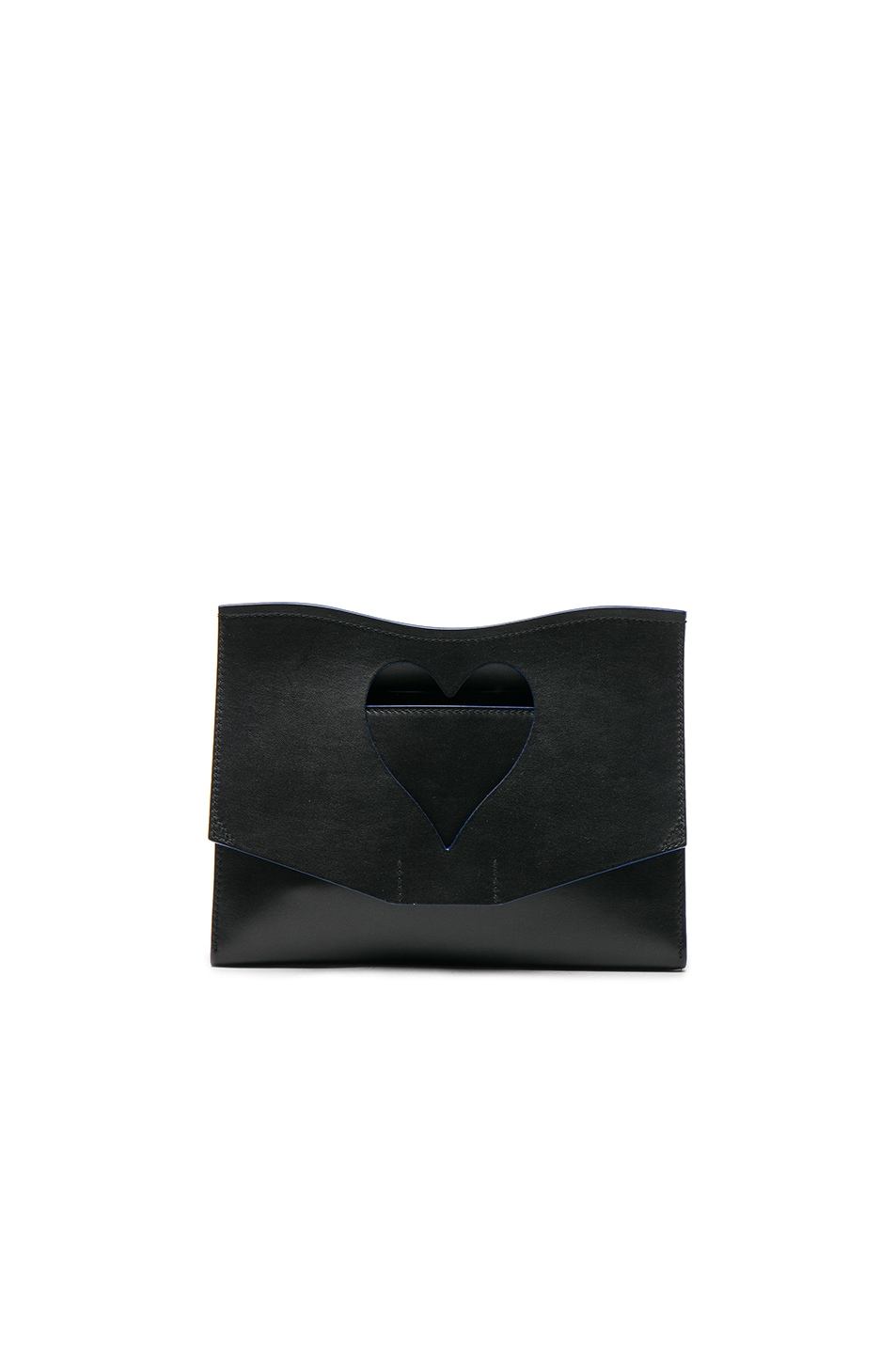 Image 1 of Proenza Schouler Medium Cut-Out Curl Leather Clutch in Black
