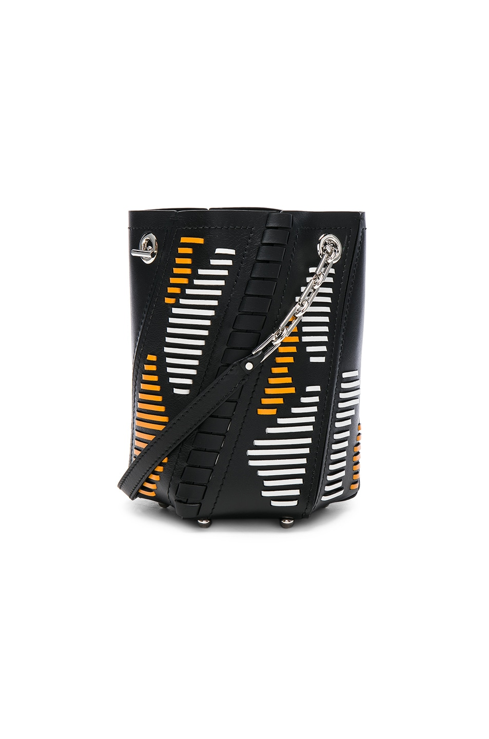 Image 1 of Proenza Schouler Mini Hex Leather Bucket Bag in Black & White & Sunflower
