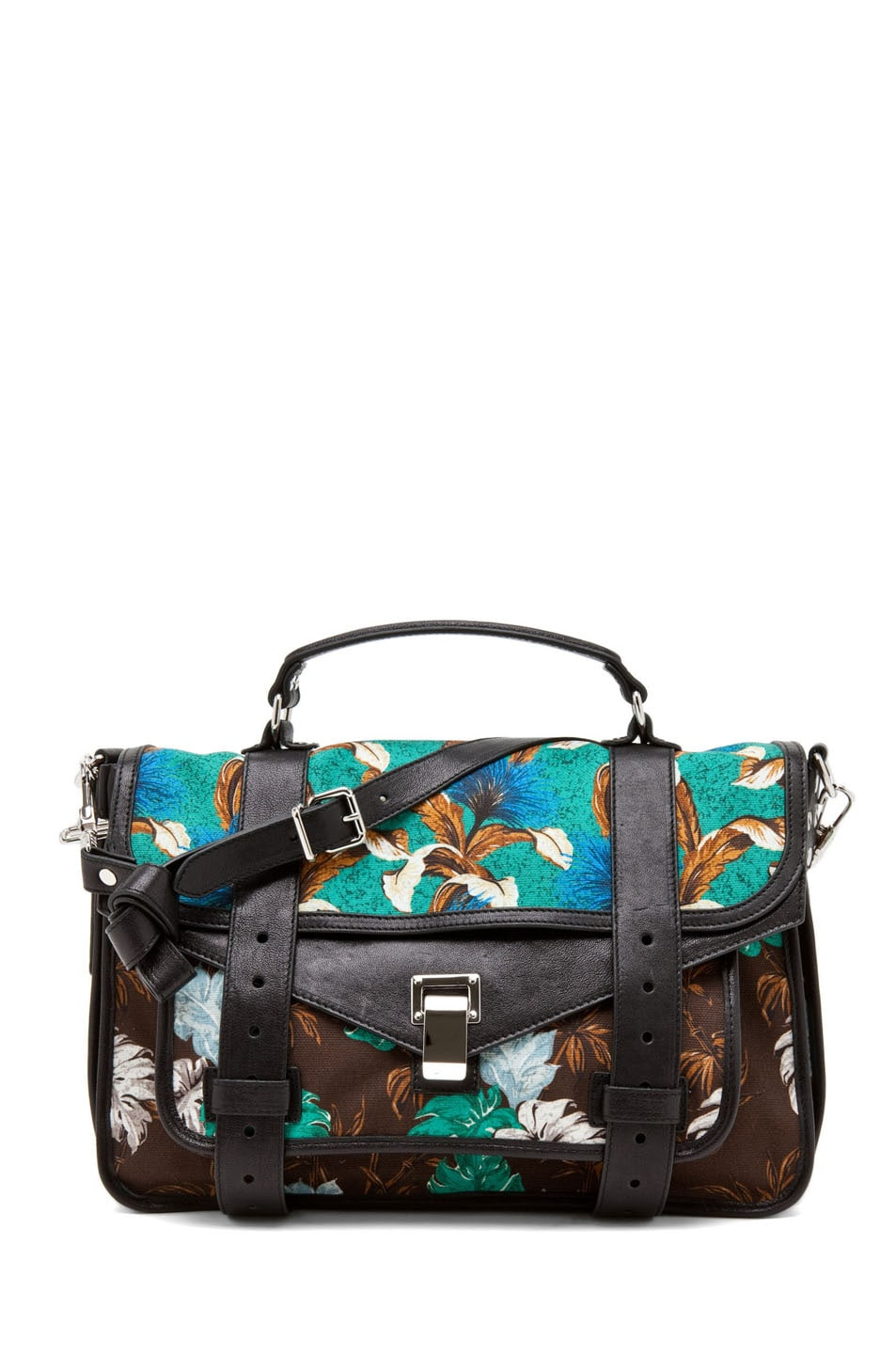 Image 1 of Proenza Schouler PS1 Medium Printed Floral Canvas in Sea Green
