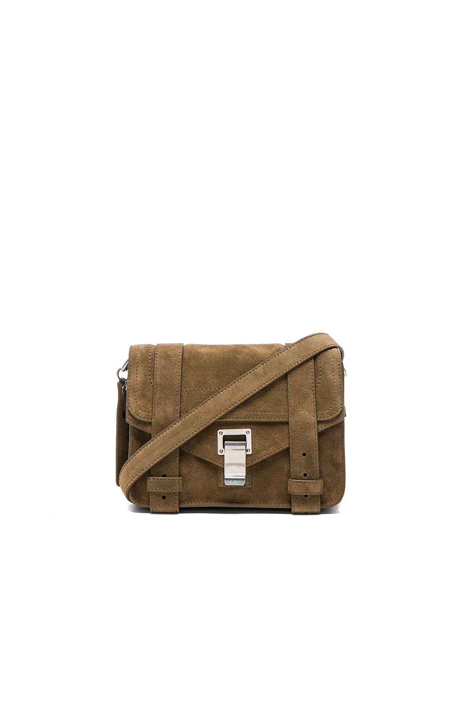 Image 1 of Proenza Schouler Mini Crossbody PS1 Suede in Bay Leaf
