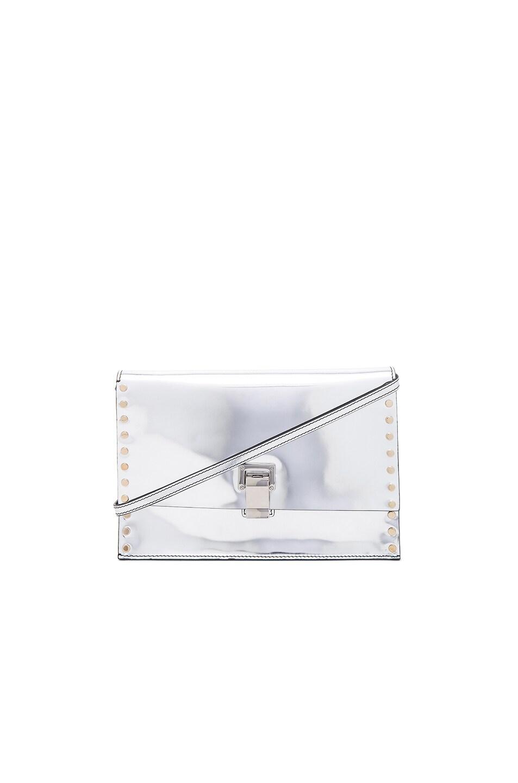 Proenza Schouler  PROENZA SCHOULER SMALL STUDDED LUNCH BAG WITH SHOULDER STRAP IN METALLICS