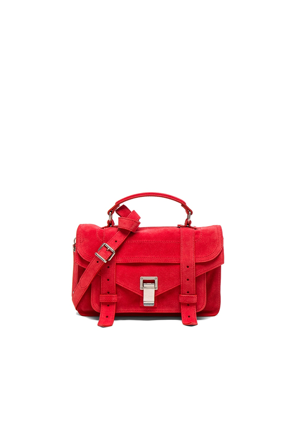 Image 1 of Proenza Schouler Tiny PS1 Suede in Flame Red