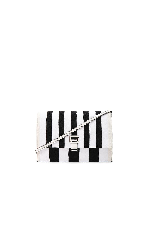 Image 1 of Proenza Schouler Small Knit Stripe Lunch Bag in Black & Ecru