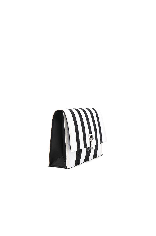 Image 3 of Proenza Schouler Small Knit Stripe Lunch Bag in Black & Ecru