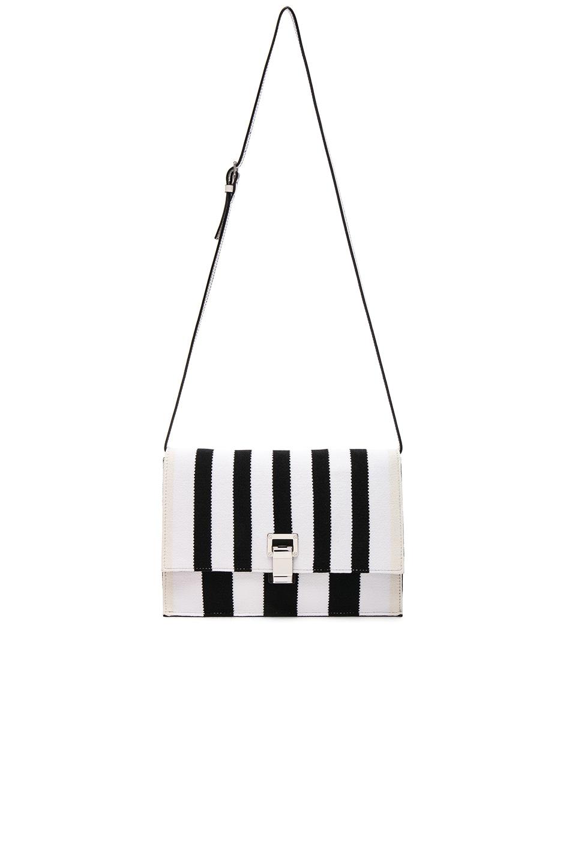 Image 5 of Proenza Schouler Small Knit Stripe Lunch Bag in Black & Ecru